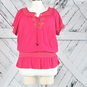 14/16 Crinkle Embroidered Peasant Top